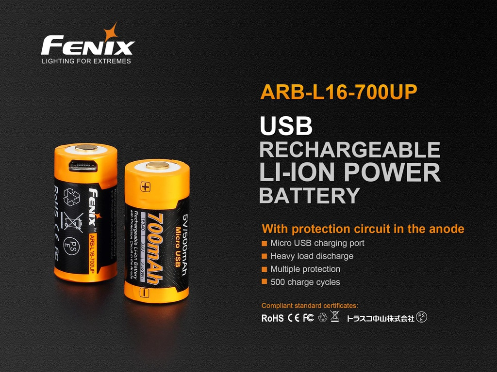 ARB-L16-700UP 16340 Li-ion Built-In USB Charging Port Rechargeable Battery with heavy load discharge