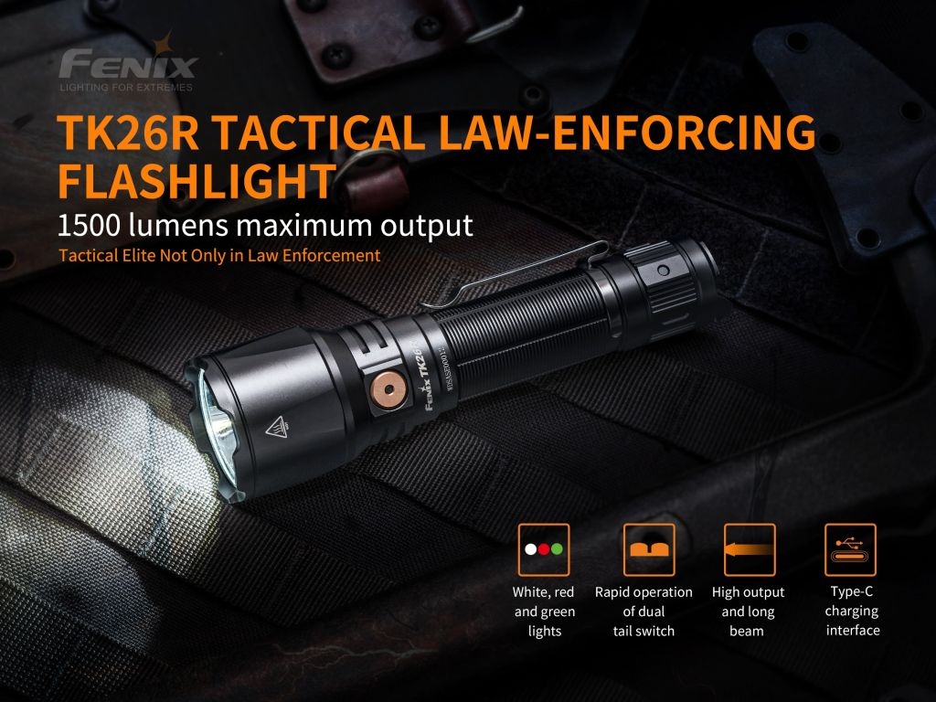 TK26R Law Enforcement White-Red-Green Colors USB-C Rechargeable Tactical Flashlight with 3500 mAh Battery